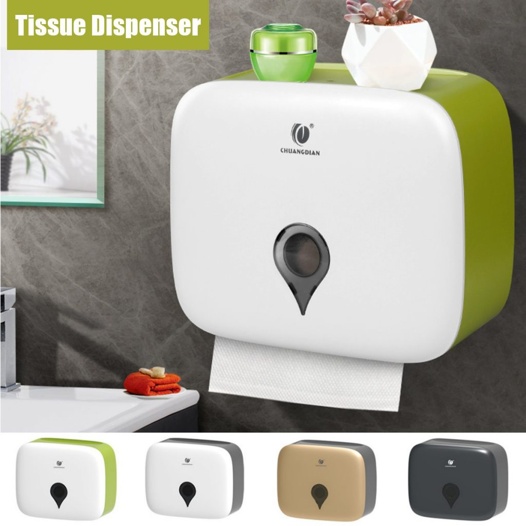 Toilet Hand Paper Towel Dispenser Tissue Box Wall Mounted Bathroom Holder Kit